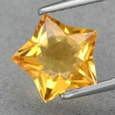 Top! VVS 1.33ct 8.2x8mm Star Natural Yellow Citrine, Brazil