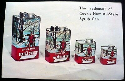1960s Cook's Golden Maple Syrup New Can, DeRuyter NY Mailed 1970