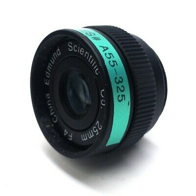 Edmund Scientific A55-325 Machine Vision Camera Lens, 25mm FL, f/4, C-Mount