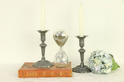 Pair Antique Victorian Pewter Candle Holders or Sticks #30366