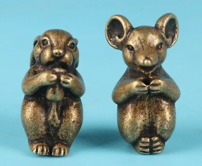 2 Unique Chinese Bronze Rat Goat Figurines Solid Mascot Collection Gifts