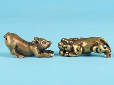 2 Unique Chinese Bronze Statue Solid Pig Kirin Mascot Collection Gift