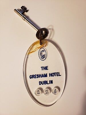 Vintage collectable tag fob room 226 DUBLIN The famous Gresham Hotel - old Irish