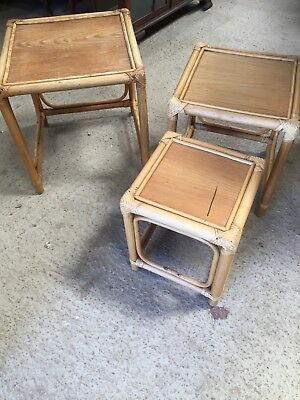 Used Nest of 3 Bamboo Tables Garden room Conservatory Wicker 3/7/E