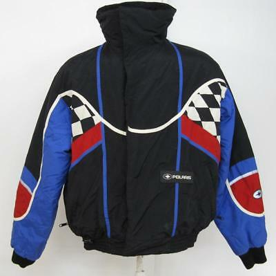 Mens Vntg Polaris Snowmobile Puffy Insulated Cold Weather Racing Jacket Medium M