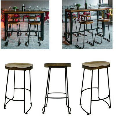Industrial Bar Stools Kitchen Breakfast High Chair Vintage Tractor Wood Pub Seat