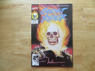 1991 Marvel Ghost Rider #18 Flame Head Cover Signed By Nelson Decastro, With Poa