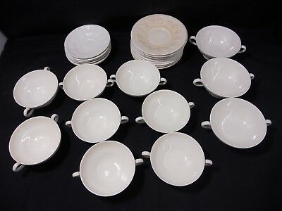 """Wedgwood Wellesley Cold Soup Bowls: 3x5.5, 8x5"""" & Saucers 6x6"""", 10x7"""""""