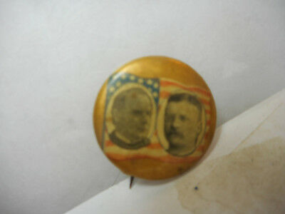 WILLIAM McKINLEY, AND TEDDY ROOSEVELT, CELLULOID CAMPAIGN  PIN