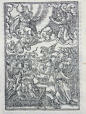 1541 REGNAULT BIBLE - Fine rubricated woodcut leaf - The Three Angels