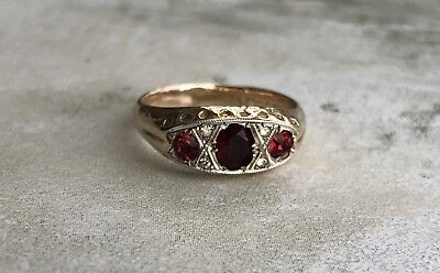 Fine Vintage 9ct Gold & Silver Ruby Red Crystal Ring UK Size O 2.4g