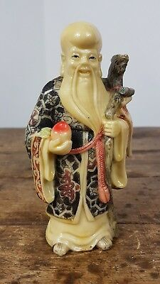 Vintage Chinese Confucius Old Man Longevity Resin Hand Painted Figure Dragon