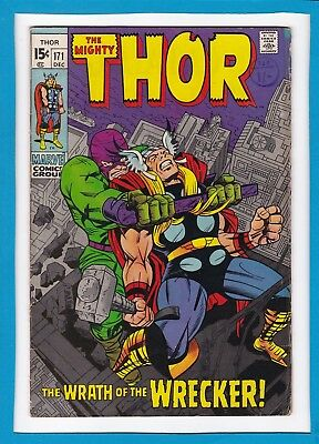 """Mighty Thor #171_December 1969_Very Good_""""the Wrath Of The Wrecker""""_Silver Age!"""