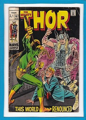 """Mighty Thor #167_August 1969_Vg_Loki_""""this World Renounced""""_Silver Age Uk!"""
