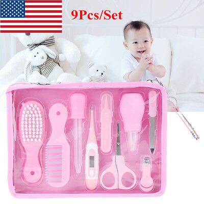 9Pcs Dream Baby Grooming Kit Scissors Hair Brush/Comb Nail Clippers Nose Cleaner