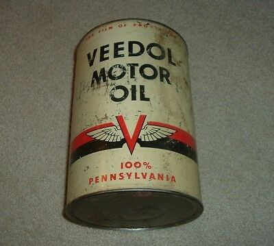 "Rare Veedol Flying ""V"" 5 Quart Motor Oil Can"