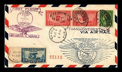 Dr Jim Stamps Us Cover First Flight Cam 25 Tampa Air Mail 1929 Backstamps