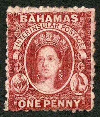 Bahamas SG20 1d brown lake Wmk CC Perf 12.5 Very fine used (small tear)
