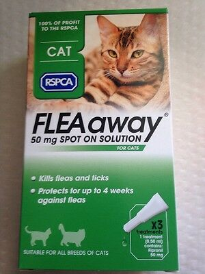 RSPCA FleaAway Spot on Treatment for Cats. x3 Treatments. Kills Fleas & Ticks.
