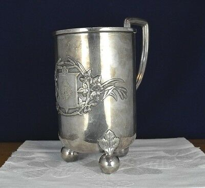 Old Large Silver Plated Tankard Embossed Monogram Art Deco Ball Footed Vintage C