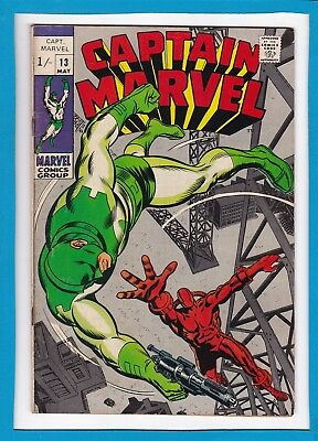 """Captain Marvel #13_May 1969_Fine+_""""traitors Or Heroes?""""_Silver Age Marvel!"""