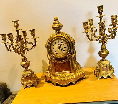 Vintage Lancini  brass and marble clock with two matching candelabras