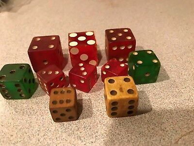 Antique Vtg Dice Red Green Bone Wood Stardust Casino Lot of 10