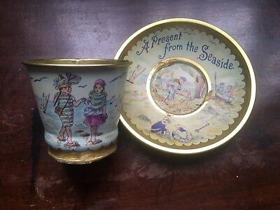 "Metal/Tin Child's Toy Cup & Saucer ""A Present from the Seaside"""