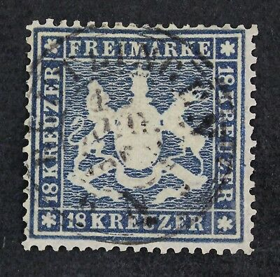 CKStamps: German Wurttemberg Stamps Scott#29 Used Signed Top Right Perfs Added