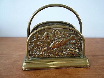 Arts and Crafts Brass Letter Rack Fish Seaweed Shell Decoration Newlyn ?