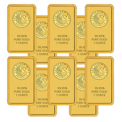 Lot of 10 Perth Mint 1 oz .9999 Gold Bars Sealed With Assay Card BANK WIRE ONLY