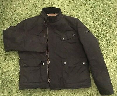 Mens Barbour Black Waxed Zip Up Warm Winter Jacket Coat Size M