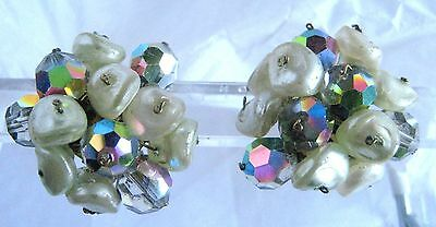Aurora Crystal Earrings Clip Ons Vintage Button Type Signed Made In Austria