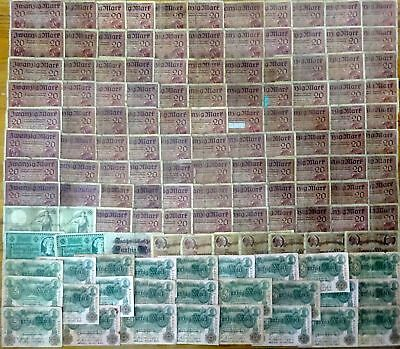 (6) German Empire - Banknote collection !!! 135 pieces 1906-1920 !! strong used