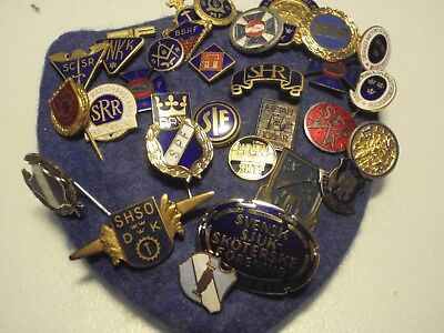Collection  30  vintage Swedish Union stick pin badges pins
