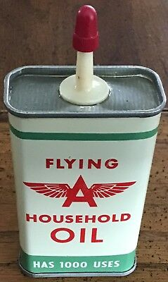 FLYING A HOUSEHOLD OIL Vintage TIN CAN --Almost Full Tidewater Oil Company LA NY