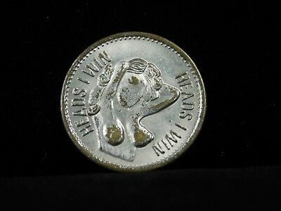 "Vintage ""Heads I win, Tails you lose"" Adult Novelty Coin/Token"