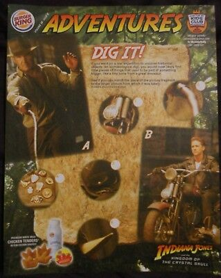 BURGER KING kids club ADVENTURES OF INDIANA JONES QTY 4  RARE