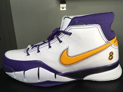 sports shoes 70ff6 ac6ee NIKE KOBE 1 PROTRO FINAL SECONDS WHITE  DEL SOL- VARSITY PURPLE AQ2728-101