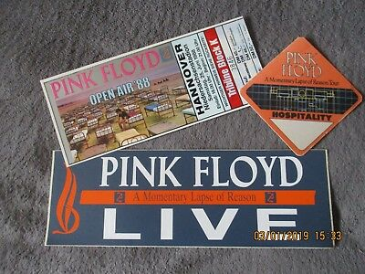 MINT Pink Floyd TICKET, VIP Pass & Promo STICKER Concert TOUR 1988 David Gilmour