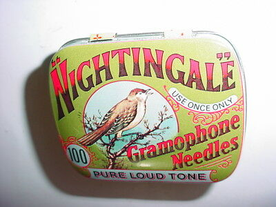 vintage NIGHTINGALE Gramophone Needles TIN Bird-Made in England-NICE Condition!