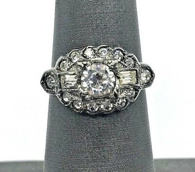Uncas Antique Art Deco Sterling Silver Clear Crystal Paste Ring 3.7g (T)