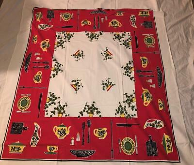 "Vintage 1960s Red Black Kitchen Themed Cotton Tablecloth 42"" x 52"" Ivy Teapots +"