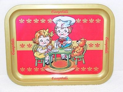 1998 Campbell's Soup Kids & Teddy Bear Metal Food Tray Guc