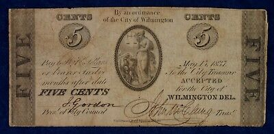 1837 5c City of Wilmington Delaware Obsolete Currency Banknote