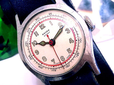 1945 Agora-Sport Rare  Railroad Military Red-Ring Green Hands Vintage Mens Watch