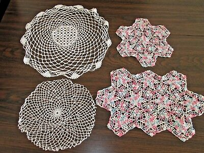 DOILIES VINTAGE LOT OF 4 - White & Soft Pinks & Blues Crochet Doily Collection