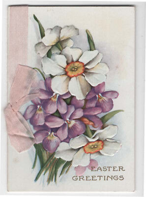 Victorian Booklet Style Easter Greeting Card, Pretty Flowers, Verse
