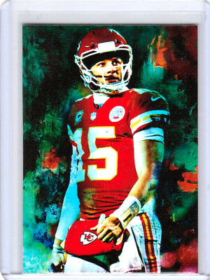 2018 Patrick Mahomes Kansas City Chiefs 1/1 ACEO White Sketch Print Card By:Q