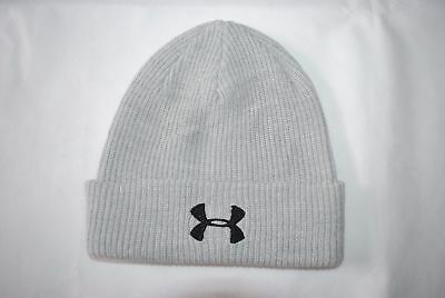 New Under Armour UA Men's Knit Cuff Beanie Cap Hat Embroidery Gray One Size